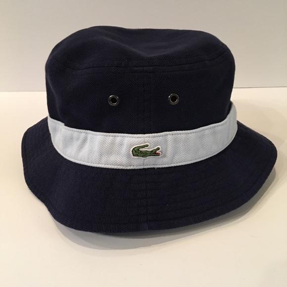 5ed6b3ccc8fa51 Lacoste Accessories | Navy Light Blue Bucket Hat | Poshmark